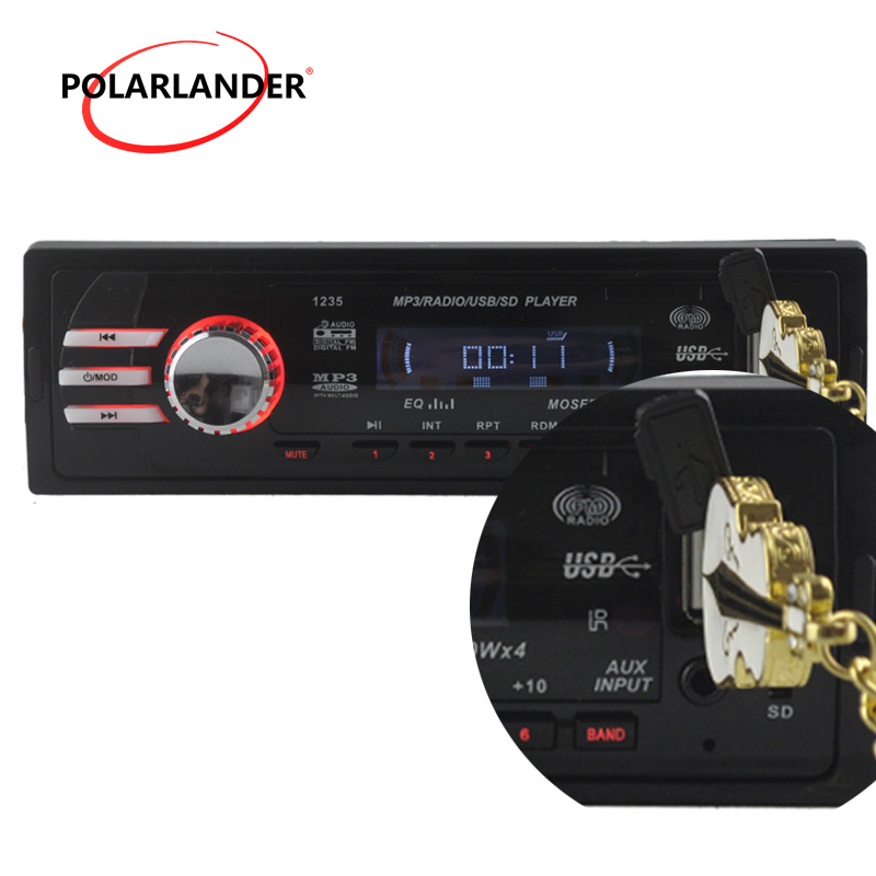 2015 NEW 12V Car Radio player car audio auto Stereo FM Receiver MP3 5V Charger USB/SD card/AUX in Car radios In-Dash 1 DIN size
