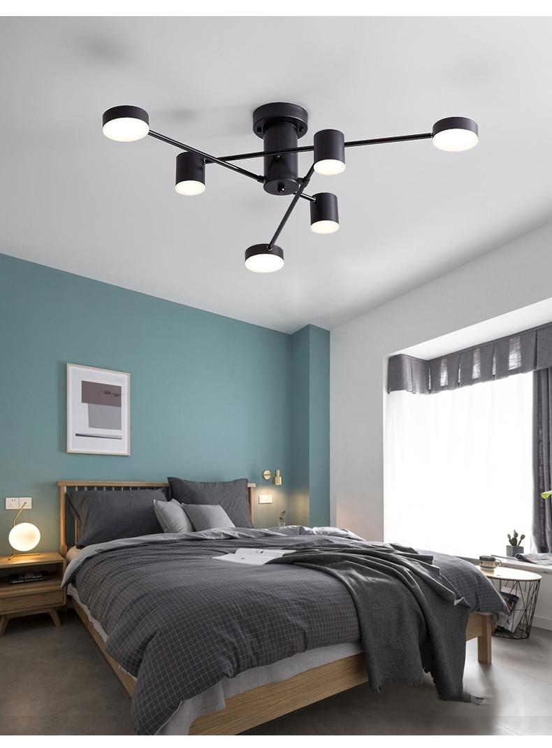 de teto sala estar quarto jantar cozinha loft ramo preto luminária