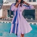 Женское винтажное платье в горошек, с V-образным вырезом и высокой талией