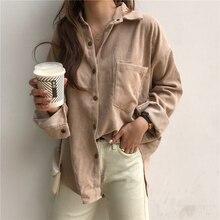 Vintage Corduroy Jackets Women Winter Autumn Coats Plus Size Single-breasted Har