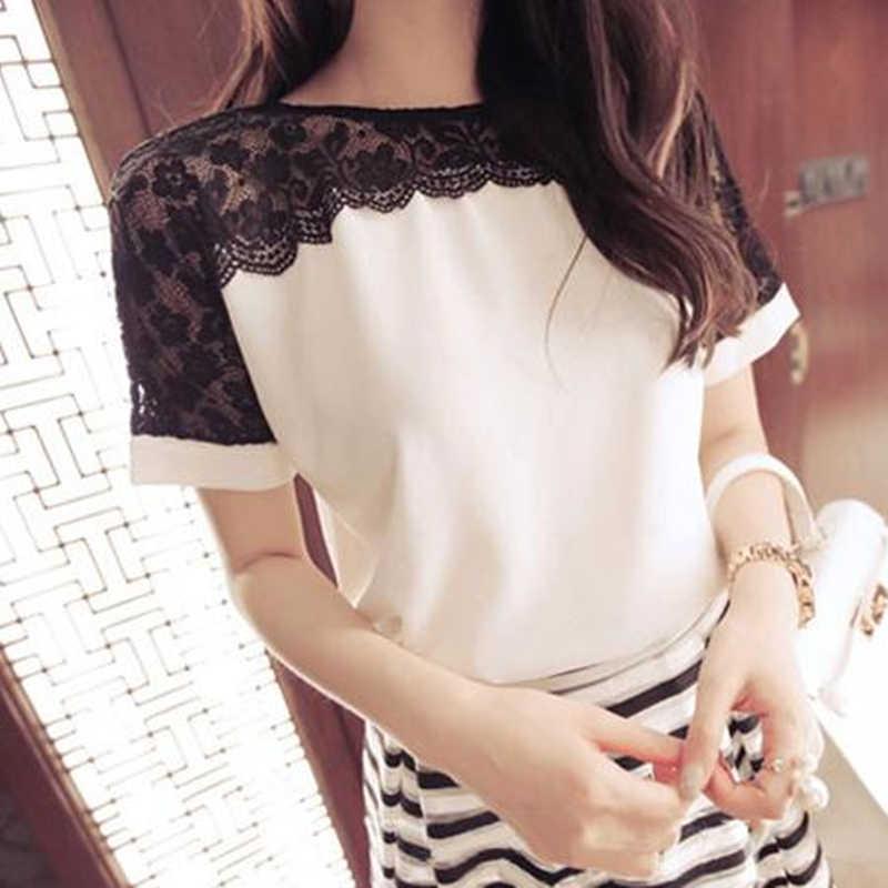 קוריאני אופנה שיפון נשים חולצות תחרה קצר שרוול ורוד נשים חולצות בתוספת גודל 4XL/5XL נשים חולצות Blusas Femininas elegante