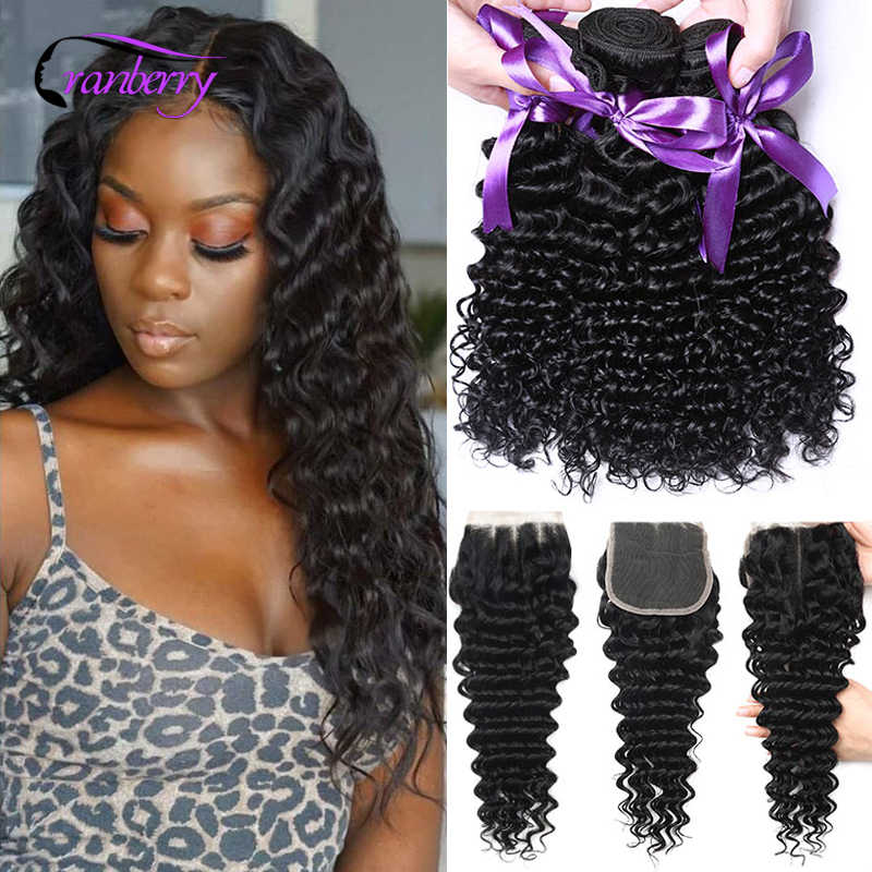 CRANBERRY Hair Deep Wave Bundles With Closure 3 Bundles Malaysian Hair Bundles With Closure 100% Remy Human Hair Lace Closure