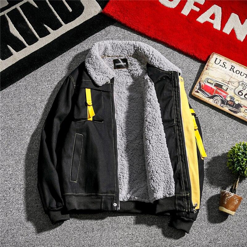 Men Student Jacket Coat Streetwear Hip Hop Loose College Clothes Harajuku Korea Largel Thick Warm Parka Windproof Outwear Youth