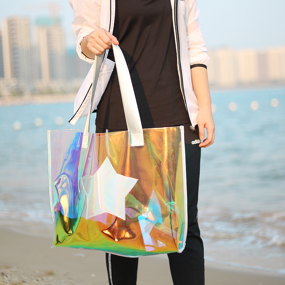 Beach transparent bag woman waterproof laser clear tote bags summer big top-handle bags laser holographic purse jelly handbag