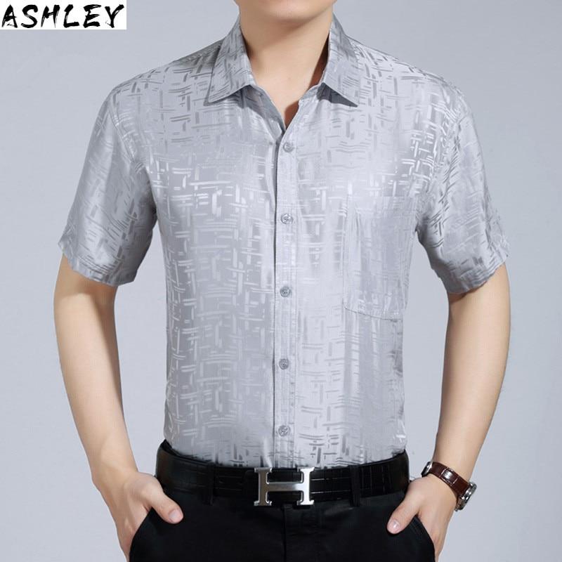 summer 2020, New white short sleeve short sleeve men's silk shirt, men's formal shirt, men's shirt