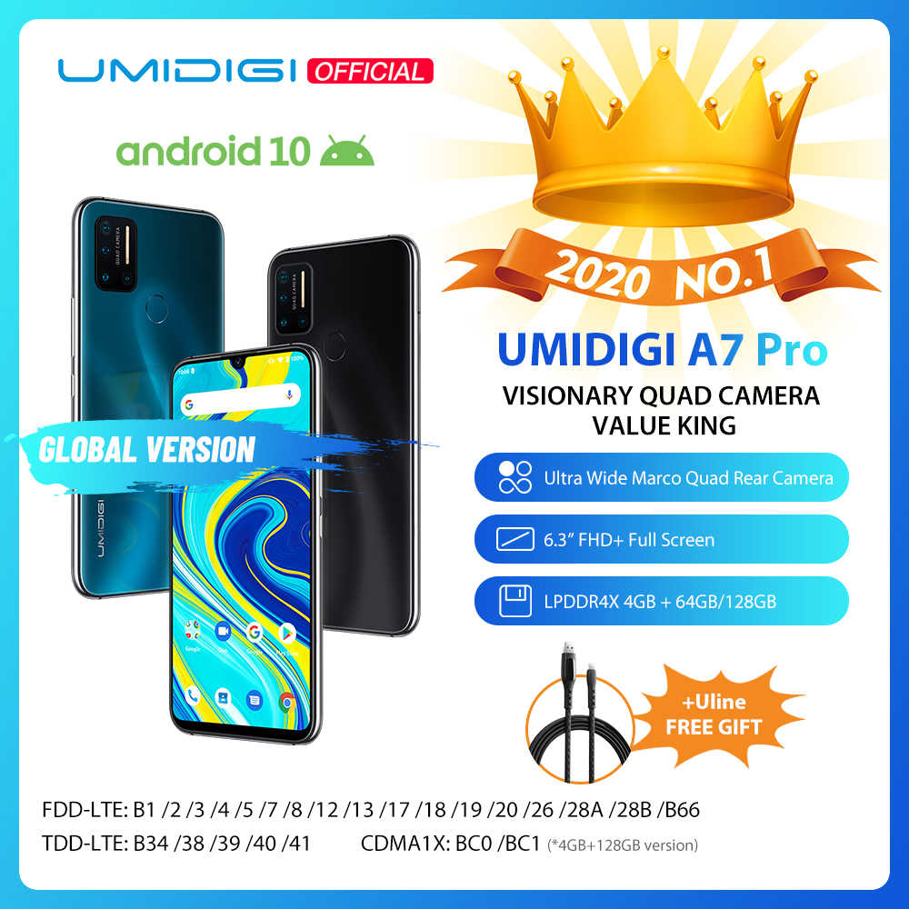 "Umidigi A7 Pro Quad Camera Andriod 10 Os 6.3 ""Fhd + Full Screen 64 Gb/128 Gb Rom LPDDR4X Octa Core Processor Global Versie Telefoon"