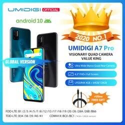 UMIDIGI A7 Pro Quad Camera Andriod 10 OS 6,3 FHD + полный экран 64 Гб/128 ГБ ROM LPDDR4X Восьмиядерный процессор глобальная Версия Телефона