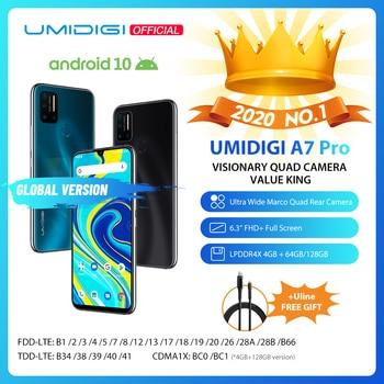 "UMIDIGI A7 Pro Quad Camera Andriod 10 OS 6.3"" FHD+ Full Screen 64GB/128GB ROM LPDDR4X Octa Core Processor Global Version Phone"