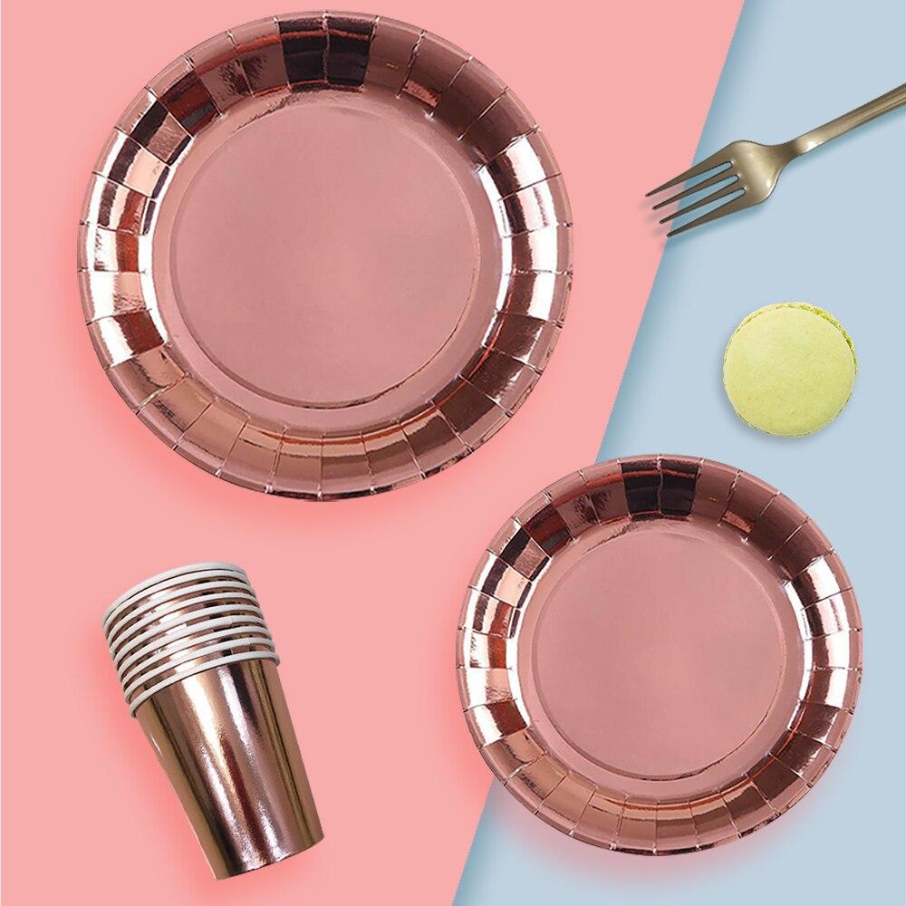 Одноразовая посуда, позолоченная скатерть из розового золота, бумажный стакан, нож, вилка, ложка, бумажный поднос, товары вечерние, набор укр...