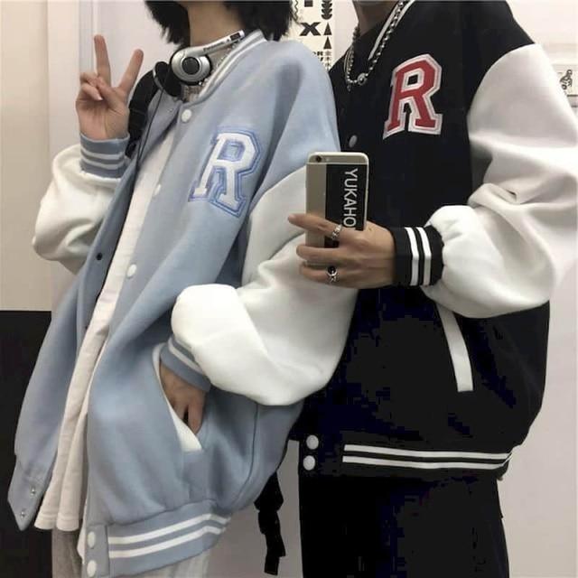 Autumn Harajuku jacket men baseball clothes women Hong Kong style retro letter embroidery plus velvet thick baseball uniform 1