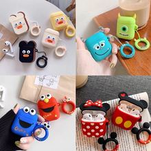 Bluetooth Earphone Case for Airpods Protective Cover for Air Pods 1 2 Box Key Ring Strap Cute Cartoon Silicone 3d lucky rat cartoon bluetooth earphone case for airpods pro cute accessories protective cover for apple air pods 3 silicone