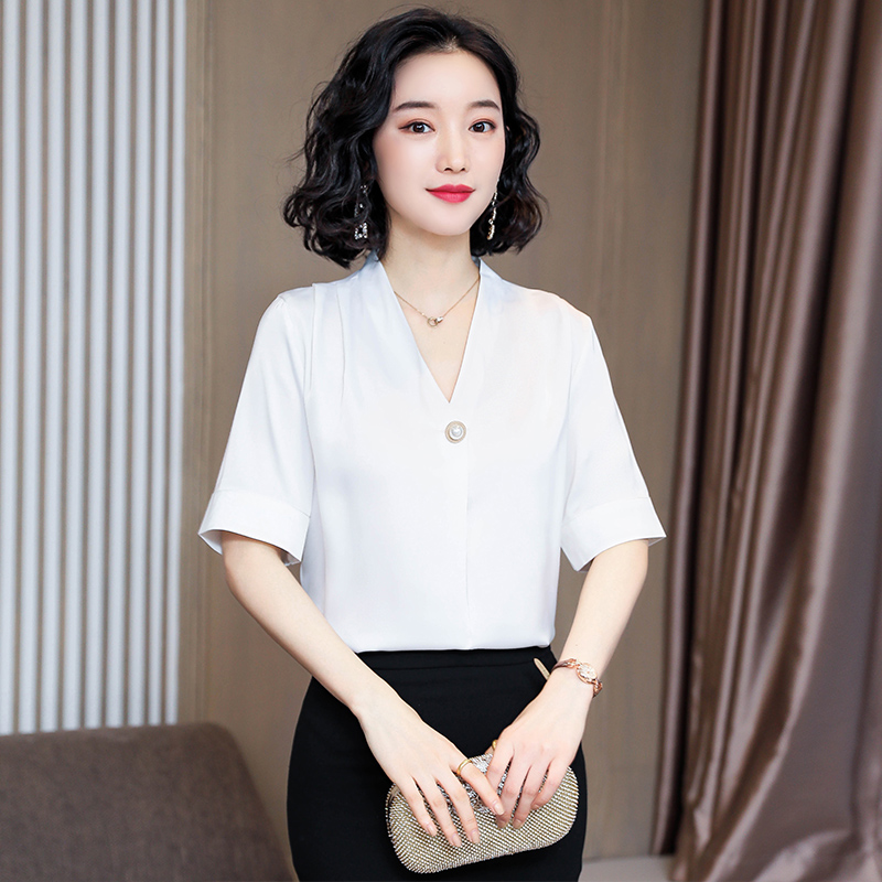 Korean Silk Women Blouses Woman Satin V-neck Blouses Shirts Elegant Women White Shirt Plus Size Blusas Mujer De Moda Ladies Tops