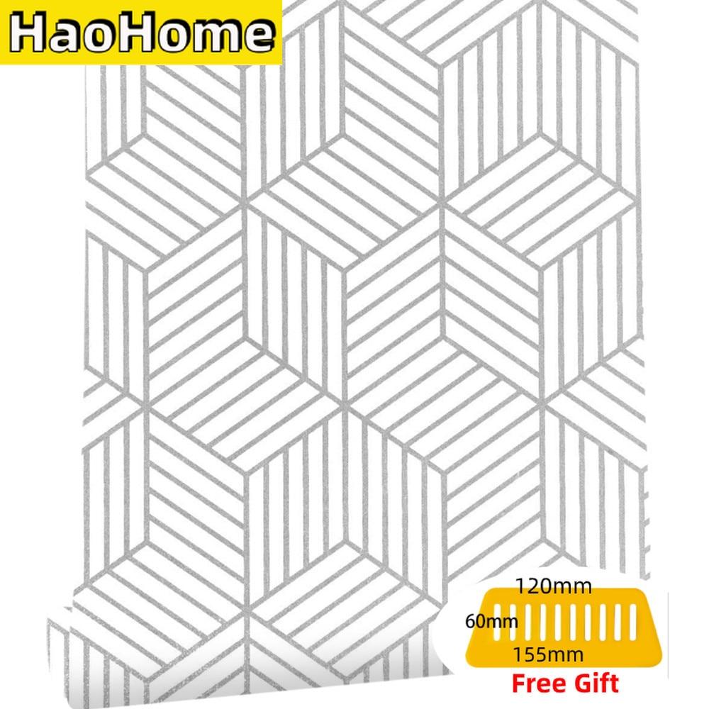 HaoHome Geometric Hexagon Silver Peel and Stick Wallpaper Removable Self Adhesive Wallpaper Vinyl Film Shelf Paper & Drawer Line