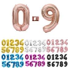 16 32 40 Polegada prata número da folha de ouro balões digital globos aniversário decorações da festa de casamento ballons fontes do chuveiro do bebê