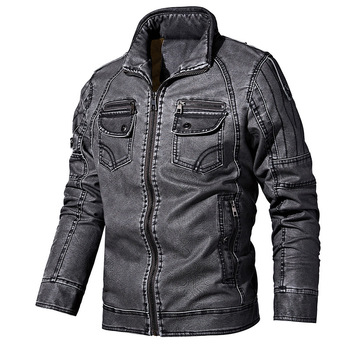 PYJTRL Mens Autumn Winter Fleece Lining Leather Jacket Fashion PU Washed Leather Motorcycle Jaket Men Bomber Camperas Thick Coat 9
