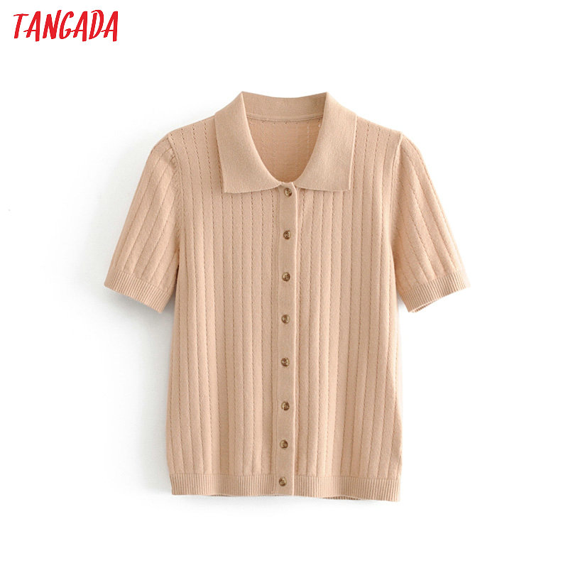 Tangada Korea Chic Women French Style Hole Sweater For Summer Ladies School Style Knitted Jumper Tops 1T22