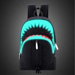 Hommes mode USB charge nuit sac à dos lumineux requin sac à dos pour ordinateur portable sac de poitrine adolescents sac d'école Mochila sac de voyage noir