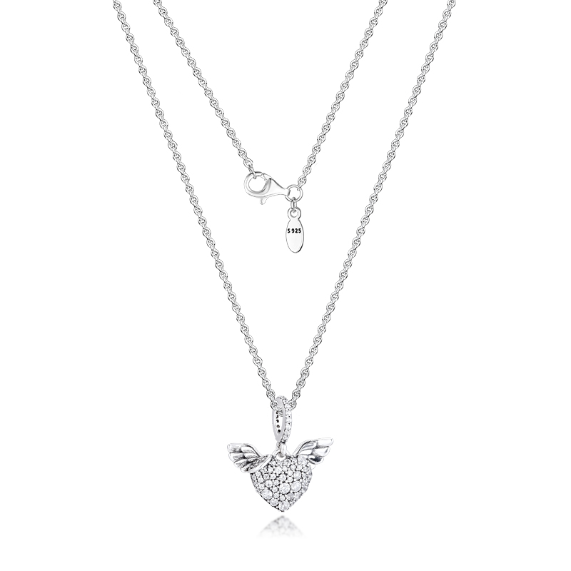Pave Heart & Angel Wings Necklace & Pendant sterling silver jewelry Women New Jewelry DIY Wholesale Pendant Necklace