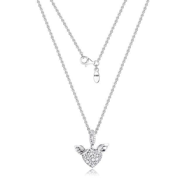 Pave serce i skrzydła anioła naszyjnik i wisiorek srebro biżuteria kobiety nowa biżuteria DIY hurtownia naszyjnik