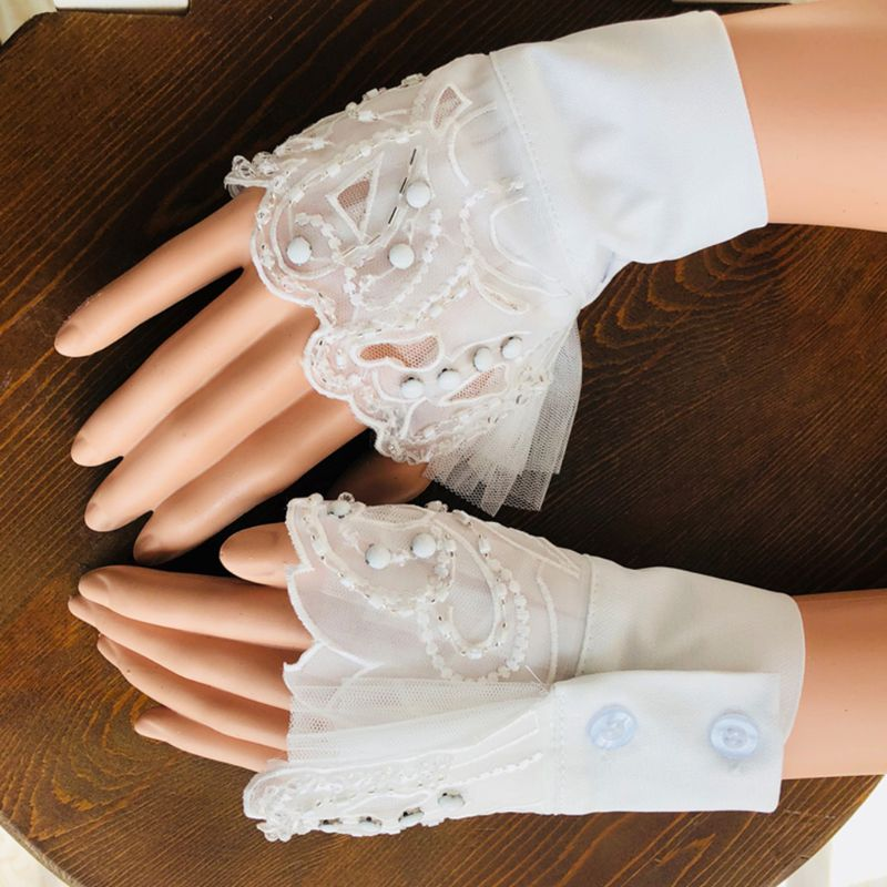 1Pair Women False Sleeve Wavy Embroidery Lace Beading Embellished Decorative Cuffs Detachable Accessories