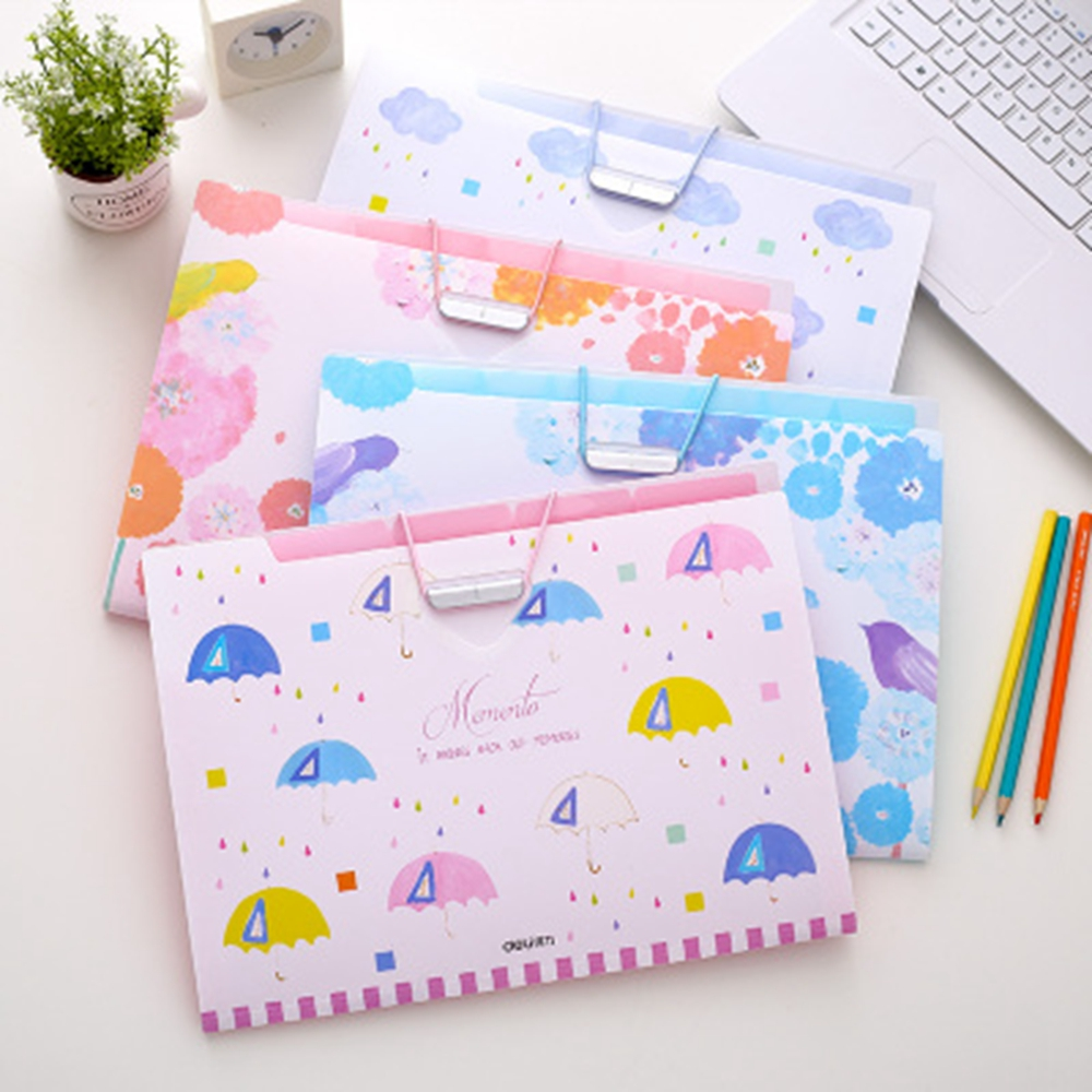 A4 Rainy Day Folder Expanding Wallet 5 And 8 Pockets Examination Paper Storage Important File Classification School Office Deli