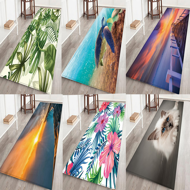 Nordic Carpets Soft Flannel 3D Printed Area Rugs Parlor Cartoon Cat Turtle Sunset Mat Rugs Anti-slip Rug For Living Room Decor