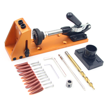 купить Woodworking Guide Carpenter Kit System  Drill Bit Kit System Pocket Hole Jig Kit inclined hole drill tools clamp base дешево