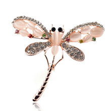 цена на Young Tulip Opal and Rhinestone Dragonfly shape Brooches for Women Cute Insect Brooch Pins Dress corsage Jewelry New Arrival pin