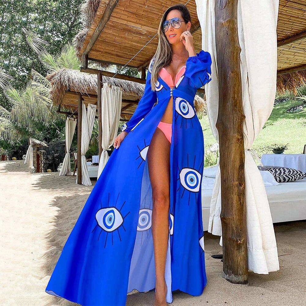 Leaves Print Bikini Beach Cover up Tunics for Beach Long Kaftan Bikini Cover up Robe de Plage Sarong Beach Swimsuit cover-ups