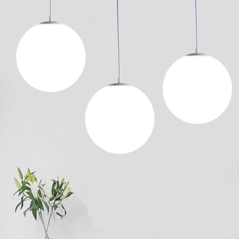 Modern White Glass Ball Pendant Lights Simple Bedroom Living Room Lamp Industrial Decor Home Lighting LED