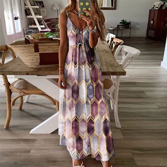 Women Dresses Ladies Sleeveless V-Neck Camisole A-Line Camisole Casual Printed Long Dress for Women 2021 Fashion Mujer Vestido 3