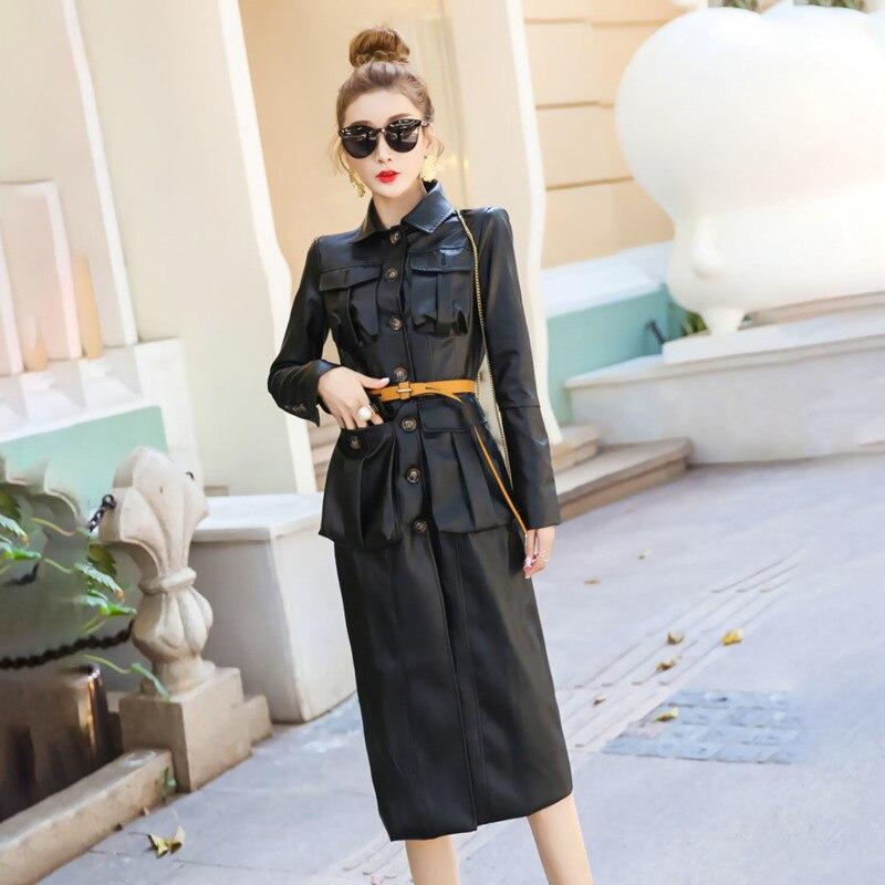 LANMREM 2020 Fashion Long Windbreaker Female Spring New Lapel Long Sleeve Pu Leather Temperament Jacket PB808