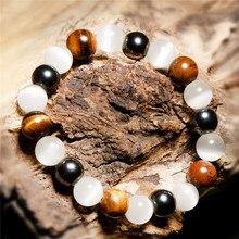 10mm Cat Eye Tiger Red Iron Ore Lucky Bead String Men Women Bangle Jewelry Fashion Yoga Mala Beads Bracelet