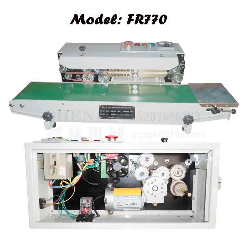 220V / 110V Plastic zak sluitmachine, elektrische impuls sealer, constante warmte automatische aluminiumfolie pakket sealer FR900