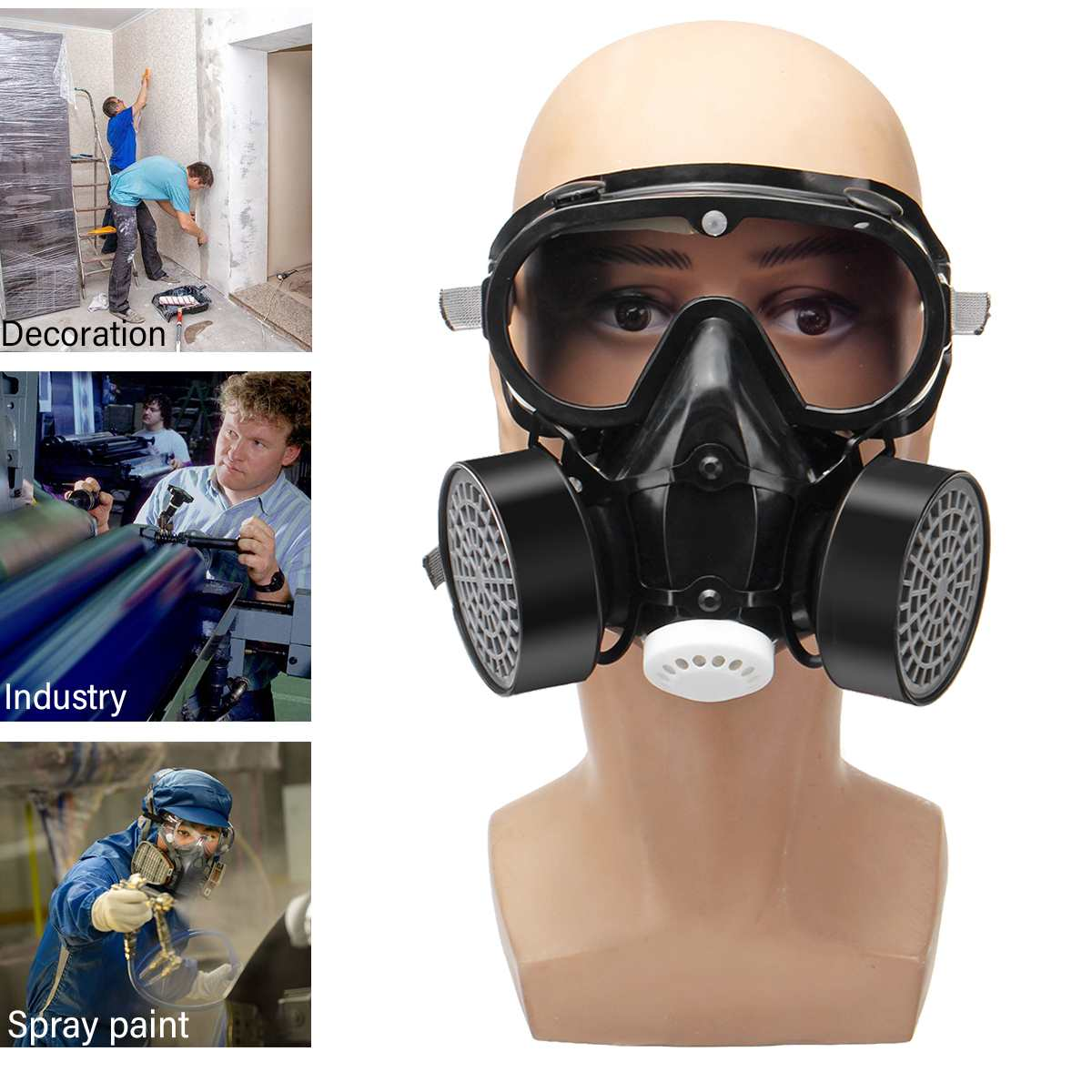 Respirator Half Face Mask Safe Chemical Anti-Dust Filter Military Eye Goggle Set Workplace Safety Protection For Painting Smoke