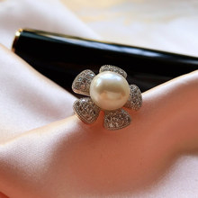 Black Friday Luxury Big Natural Pearl Zircon Flower Rings For Women Silver 925 Adjustable Wedding Ring Freshwater Pearl Jewelry(China)