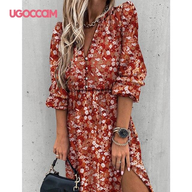 UGOCCAM Women Dress Chiffon V-Neck Party Dress A-line Women Half Sleeve Flower Print Floral Dress female Vestido Plus Size 5