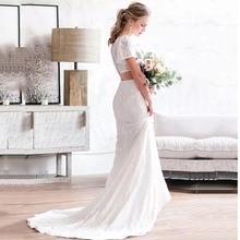 Eightree Short Sleeve Lace Wedding Dress Boho 2 Pcs Back Mermaid Dresses Beaded Belt Bride vestido de noiva