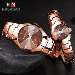 KINGNUOS, Топ бренд, роскошные парные часы, мужские и женские, Роскошные Кварцевые часы со стальным ремешком, двойной календарь