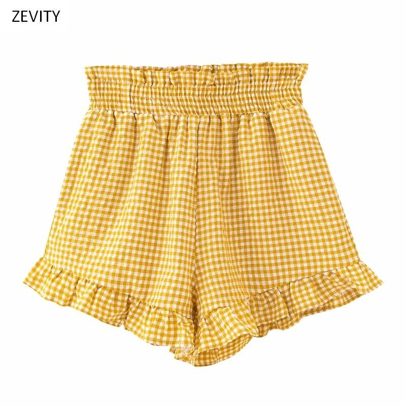Zevity New 2020 Women Vintage Agaric Lace Ruffles Plaid Print Shorts Ladies Chic Elastic Waist Hot Shorts Pantalone Cortos P830