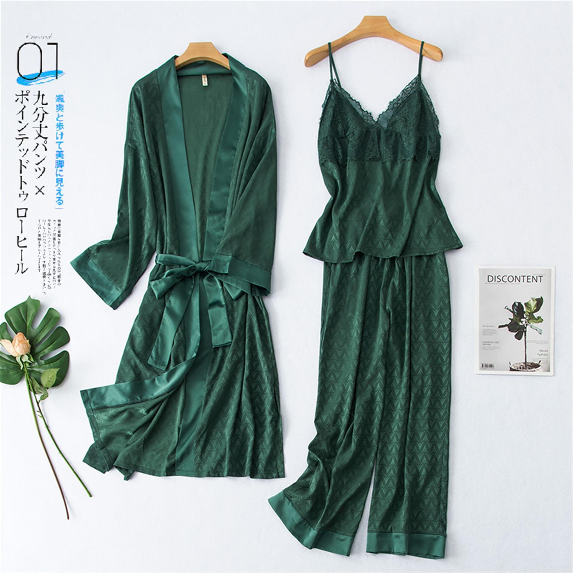 2020 New 3 Pcs  Womens Pajamas Sleepwear Satin Silk  Sexy Lingerie Pyjama 2030