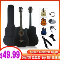 full pack 38 inch steel string colour acoustic guitar musical gifts wood guitarra with string capo strap pick bag pickguard