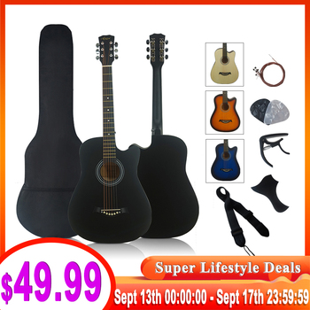 full pack 38 inch steel string colour acoustic guitar musical gifts wood guitarra with string capo strap pick bag pickguard acoustic custom guitar 41 inch full size 6 string basswood with guitar kit from us