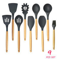 9pcs/set Wood Handle Silicone Kitchenware Cooking Utensils Sets Heat-Resistant Silicon Kitchen Cooking Set FDA Approved