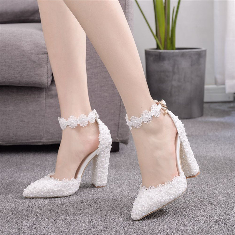 White Ladies Wedding Shoes Crystal Pearls With Bridal Shoes Ladies Dress Shoes Sweet Party Shoes