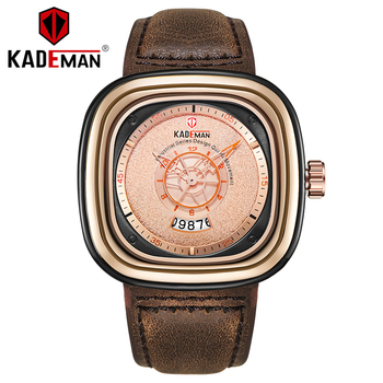 KADEMAN Mens Watch Fashion Sport Leather Date Quartz Wristwatches Men Luxury Top Brand Waterproof Male Clock Relogio Masculino 2018 baogela men fashion casual leather band quartz watch male sport wristwatches waterproof watches relogio masculino