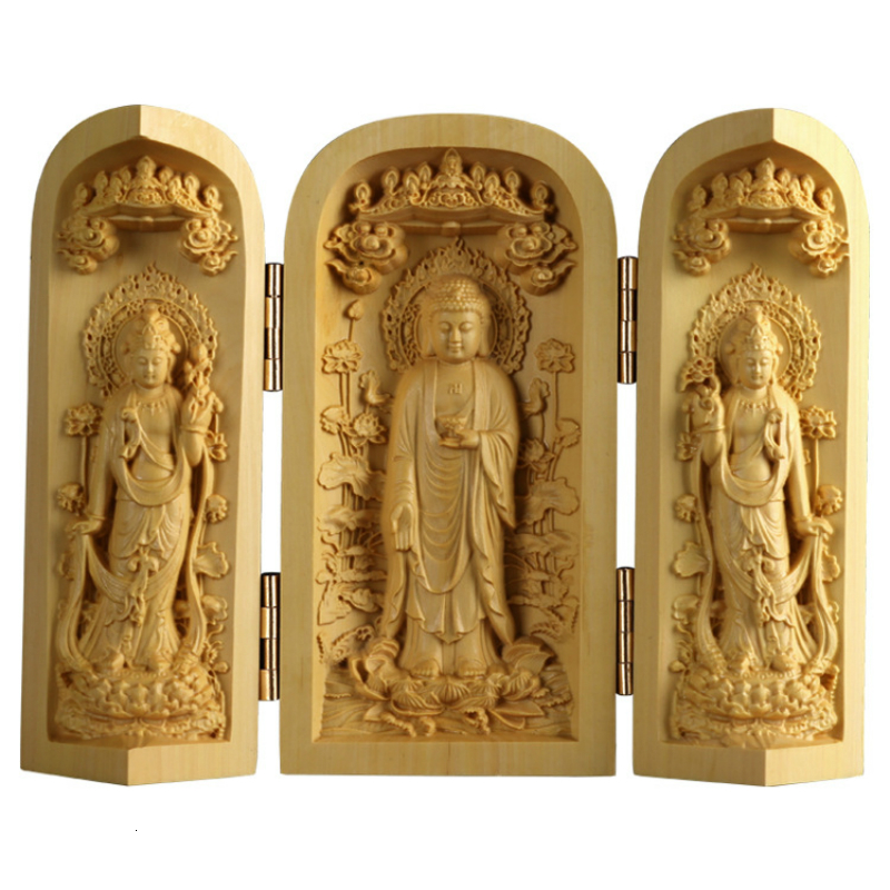 Wooden Crafts Statues Boxwood Carving Furniture Solid Wood Carvings Handlebars Three Boxes Home Decor Ornaments Buda Sculpture