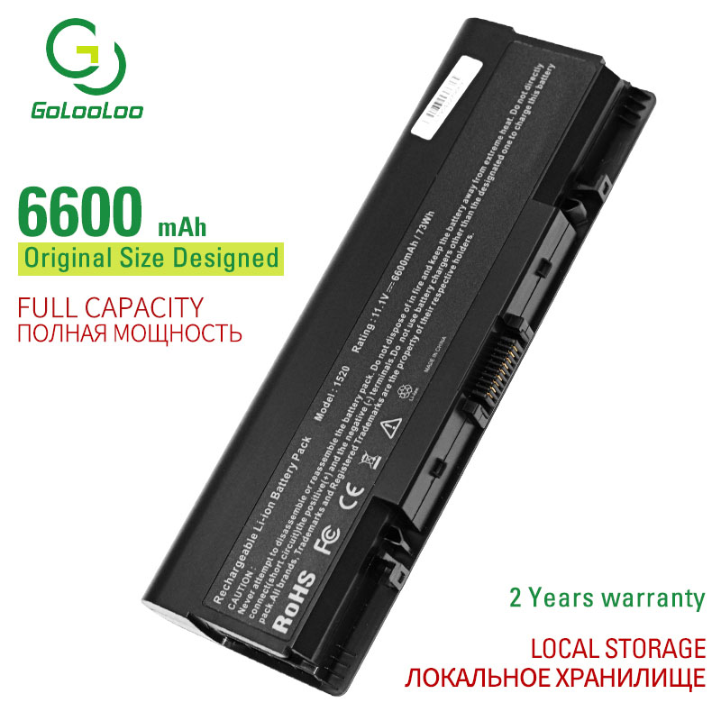 Golooloo 6600 mAh 9 Cells Laptop <font><b>Battery</b></font> for <font><b>Dell</b></font> 0GR99 0UW280 312-0595 451-10476 for <font><b>Inspiron</b></font> 1520 <font><b>1720</b></font> for Vostro 1500 1700 image