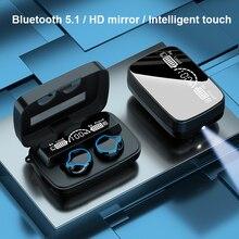 TWS Bluetooth Earphones Wireless Earbuds 2000mAh HD Mirror Display Charging Case Waterproof Headphone for Android iphone Lotus