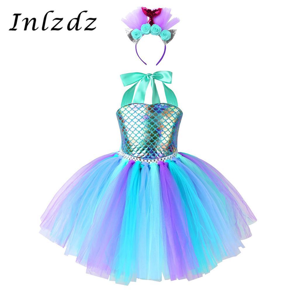 Crianças meninas traje sereia outfit halter pescoço peixe escalas impresso malha tutu vestido com aro de cabelo para halloween carnaval cosplay